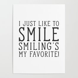 Smiling's My Favorite - Buddy The Elf, Christmas Movie Quote Poster