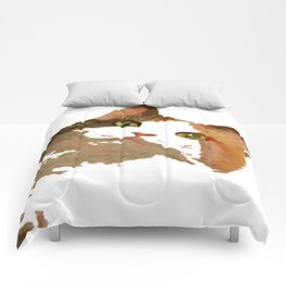 I'm All Ears - Cute Calico Cat Portrait Comforters