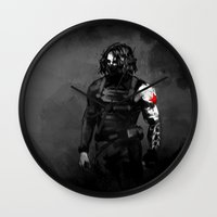 bucky barnes Wall Clocks featuring Who the hell is Bucky? by charlotvanh