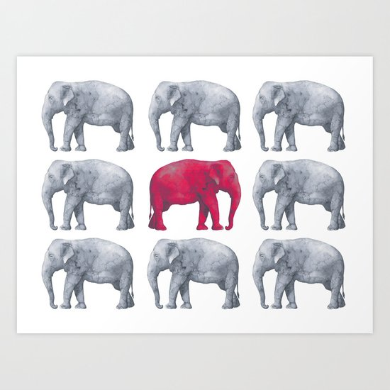 Elephants Red II Art Print
