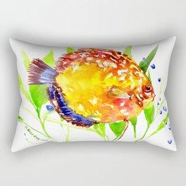 Discus in Aquarium. yellow red green fish illustration Rectangular Pillow