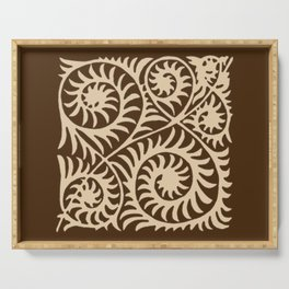 William de Morgan Abstract Fern, Brown and Beige Serving Tray