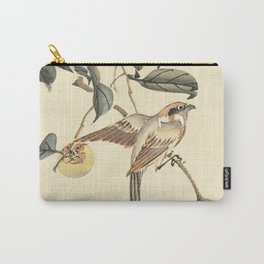 Vintage brown ivory bird floral tree branch Carry-All Pouch