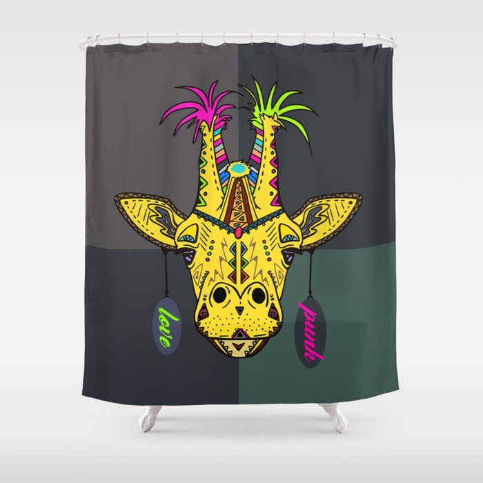 Punk Giraffe Shower Curtain By Jirkasvetlik