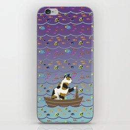 Captain Cat in purple fade iPhone Skin