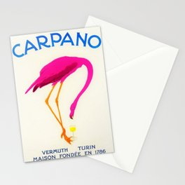 Vintage Carpano Pink Flamingo Motif Vermouth Advertisement Poster Stationery Cards