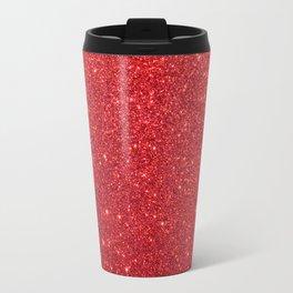Ruby Red July Leo Birthstone Shimmering Glitter Travel Mug