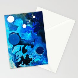 Acqua, Blue ocean abstract painting, NYC Artist Stationery Cards