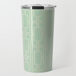 Simply Mid-Century in White Gold Sands and Pastel Cactus Green Travel Mug