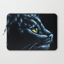 Black Cat Portrait White Charcoal Art Laptop Sleeve