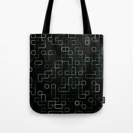 Green neon mosaic technology pattern Tote Bag