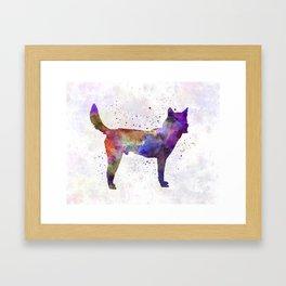 Korea Jindo Dog in watercolor Framed Art Print