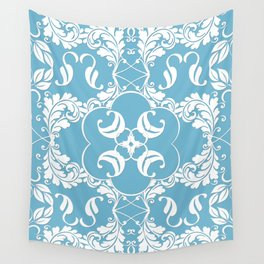 Blue Leaf Lace Wall Tapestry