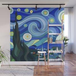 Tardis Art Starry Night Wall Mural