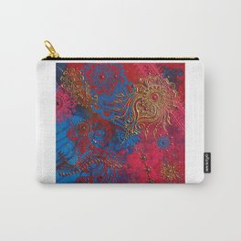 Multi-Media Henna Mehndi Print Red Pink Turquoise Carry-All Pouch