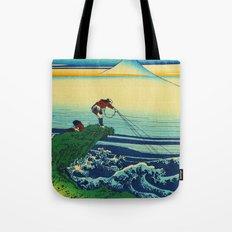 Vintage Japanese Art - Man Fishing Tote Bag