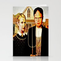 american Stationery Cards featuring Dwight Schrute & Angela Martin (The Office: American Gothic) by Silvio Ledbetter