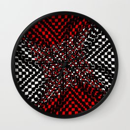 black white red 3 Wall Clock