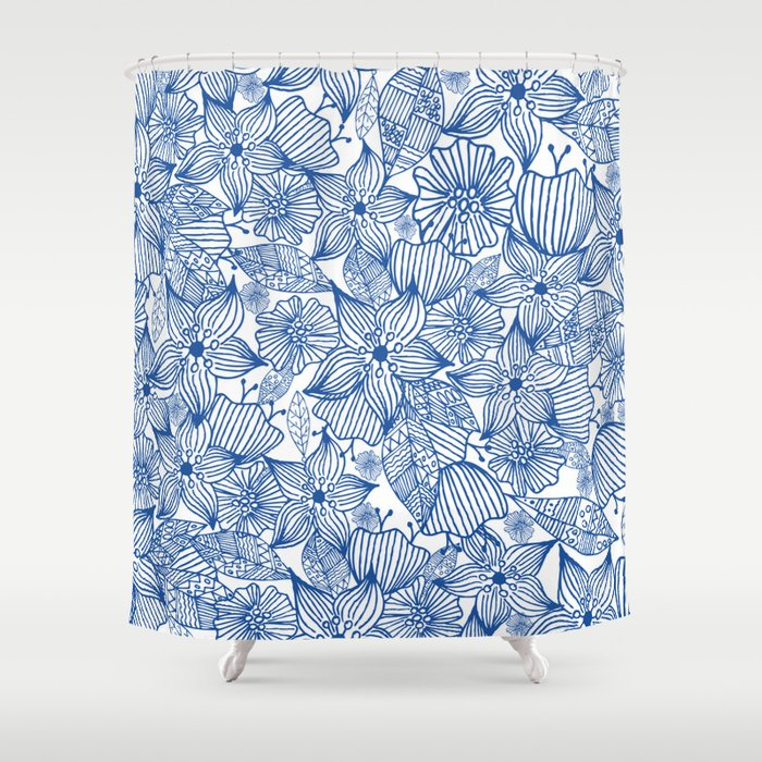 Modern Royal Blue White Hand Painted Watercolor Floral Shower Curtain