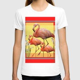 SURREAL FLAMINGOS CALLA LILIES RED ART T-shirt