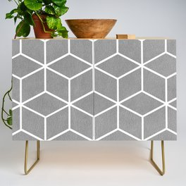 Light Grey and White - Geometric Textured Cube Design Credenza