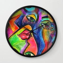 Vibrant Watercolor Female Face Wall Clock