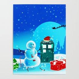 Tardis With Snow Ball Gift Christmas Poster