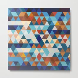 Geometric Triangle Blue, Brown  - Ethnic Inspired Pattern Metal Print