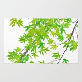 fresh green spring maple leaf Rug