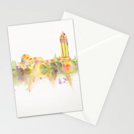 Colorful Stanford California Skyline - University Stationery Cards