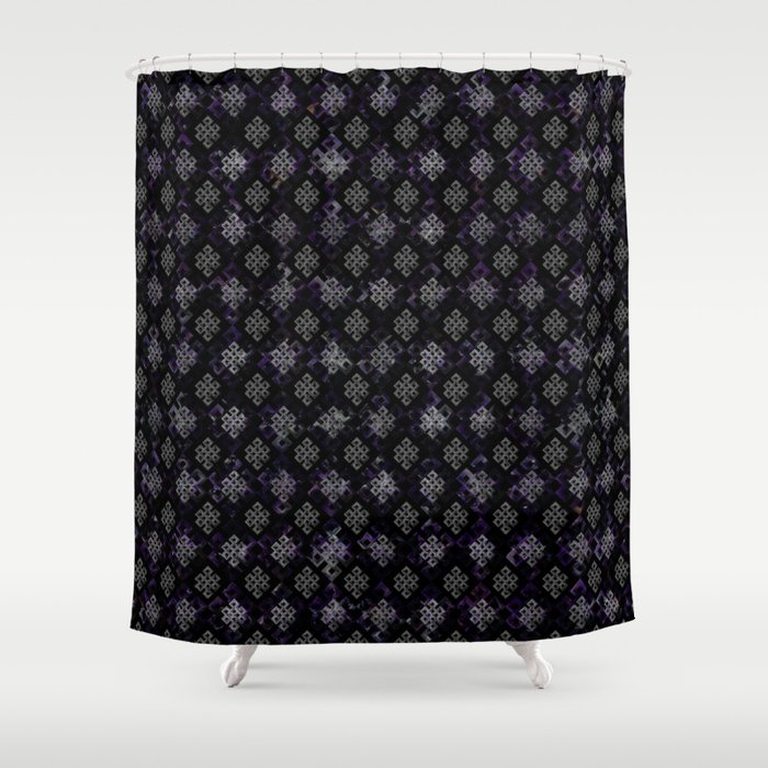 Endless Knot pattern - Silver and Amethyst Shower Curtain