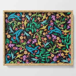 Asian Theme Lucky Genie Lantern Floral Print Serving Tray