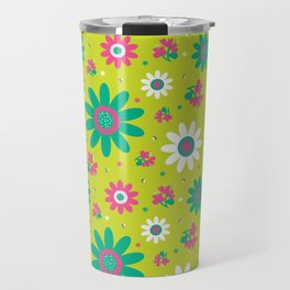 Retro Fall 60's Sunflower Floral in Lime Green Travel Mug