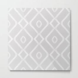 Modern Boho Ogee in Grey Metal Print