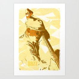 Jazz Contrabassist Poster Art Print