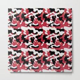 Sparkle Red White Black Camouflage Camo Metal Print