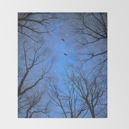 A Certain Darkness Is Needed (Night Trees Silhouette) Throw Blanket
