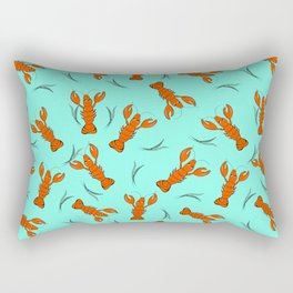 The funny lobster on the blue background. Rectangular Pillow