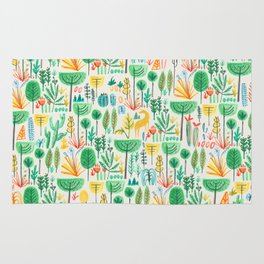 Jungle life with golden unicorn Rug