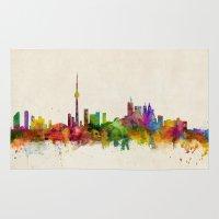 toronto Area & Throw Rugs featuring Toronto Skyline by artPause