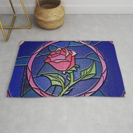 Beauty and the Beast Enchanted Rose Stained Glass Rug