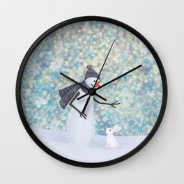 snowman and white rabbit Wall Clock
