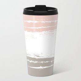 Pastel Color Blocks - Pink and Brown Travel Mug