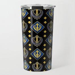 Gold and Lapis Lazuli Khanda symbol pattern Travel Mug