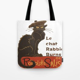Le Chat Rabbie Burns With Tam OShanter Tote Bag