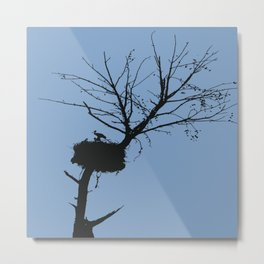 Silhouette Of Stalk Nest and Fledglings Vector Metal Print