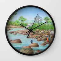 river Wall Clocks featuring  river  by Amy Fan