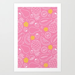 Fruit Salad - Pink Art Print