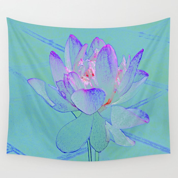 TURQUOISE LOTUS Wall Tapestry
