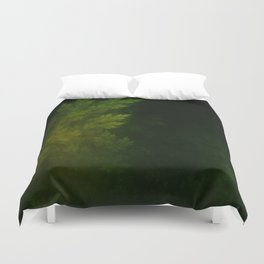 Beautiful Fractal Pines in the Misty Spring Night Duvet Cover